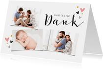 Bedankkaart voor doop fotocollage met hartjes