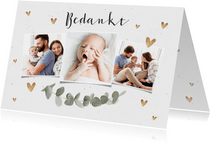 Bedankkaart voor doopviering met eucalyptus en foto's