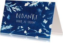Bedankkaart wilde bloemen blauw
