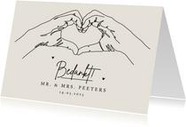 Bedankkaartje bruiloft stijlvol pastel lijntekening foto
