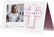 Bedankkaartje communie foto & kruis verfspetters roze
