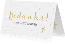Bedankkaartje communie horend bij fotocollage uitnodiging