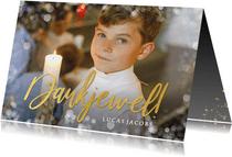 Bedankkaartje communie met grote foto en goudlook dankjewel