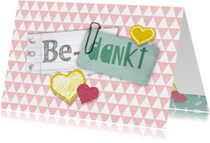 Bedankkaartje hartjes roze hip