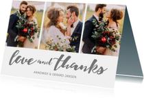 Bedankkaartje huwelijk 3 foto's