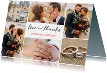Bedankkaartje huwelijk 6 foto's