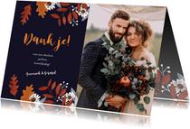 Bedankkaartje huwelijk herfstbladeren
