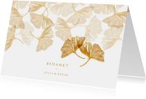 Bedankkaartje met ginkgobladeren stempel en foto binnenzijde