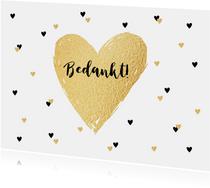 Bedankkaartje trouwen hartjes goud zwartwit