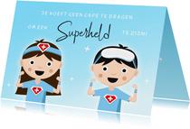 Bedankt kaart voor hulpverleners in de zorg superhelden cape