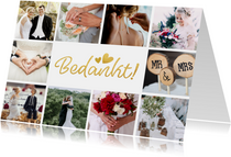 Bedankt kaartje trouwen fotocollage met 10 foto's