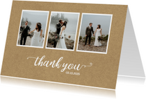 Bedanktkaart huwelijk drie foto's chique