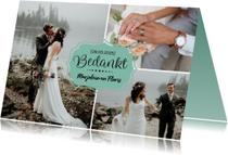 Bedanktkaart huwelijk met foto's en namen