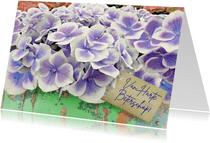 Beterschapskaart Hortensia bloemen op steigerhout