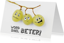 Beterschapskaart met smiley druiven, word snel beter!
