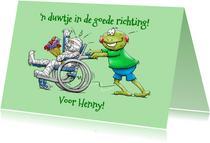 Beterschapskaart  opkikker met patiënt in rolstoel