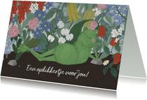 Beterschapskaart opkikkertje met bloemen een een luie kikker