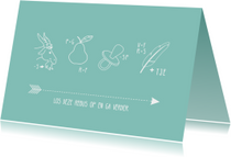 Blauwe rebus uitnodigingskaart