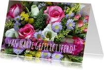 Verjaardagskaarten - boeket vrolijke bloemen