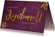 Bordeaux kleurige uitnodiging voor zakelijke kerstborrel