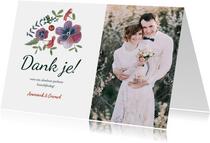 Botanische bruiloft bedankkaartje