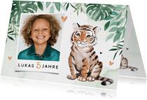 Botanische Einladung Kindergeburtstag mit Foto und Tiger