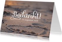 Bruiloft bedankkaart strand