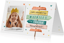 Bunte Einladung Kindergeburtstag Foto & Schild