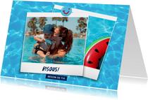Carte de vacances avec bisous de et votre photo - eau