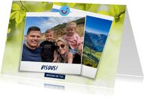 Carte de vacances montagnes avec bisous de et votre photo