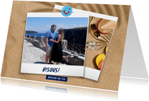 Carte de vacances plage avec bisous de et votre photo