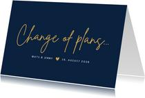 Change-of-plans-Karte zur Hochzeit klassisch Dunkelblau
