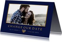 Change-our-Date-Karte Hochzeit Foto und Herz