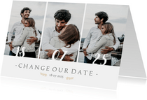 Change-our-Date-Karte mit Fotocollage