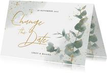 Change the Date kaart eucalyptus en groene waterverf