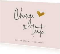 Change the date kaart met goudlook hartje
