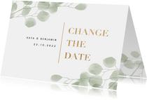 Change the date kaart waterverf eucalyptus en typografie
