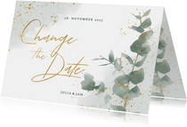 Change-the-date-Karte zur Hochzeit Eukalyptus