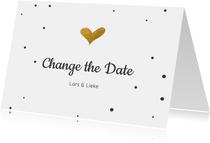 Change the datekaart met gouden hartje en confetti