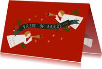 Christelijke kerstkaart met engeltjes en banner 2021