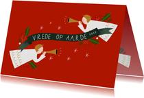 Christelijke kerstkaart met engeltjes en banner 2022