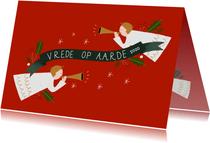 Christelijke kerstkaart met engeltjes en banner
