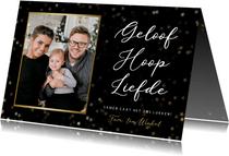 Christelijke kerstkaart met foto - Geloof hoop en liefde