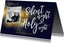 Christelijke kerstkaart met foto Silent Night