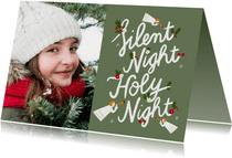 Christelijke kerstkaart met grote foto en illustratie