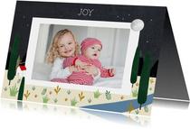Christelijke kerstkaart met illustratie en foto