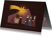 Christliche Weihnachtskarte mit Krippe