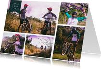 Collagekaart liggend met 5 stoere foto's en label