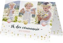 Communie fotocollage kaart meisje met goudlook confetti