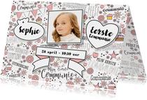 Communie hippe uitnodiging met foto in handlettering-stijl